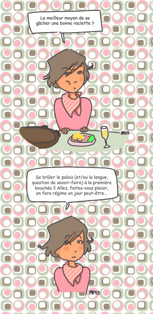 femme mange raclette