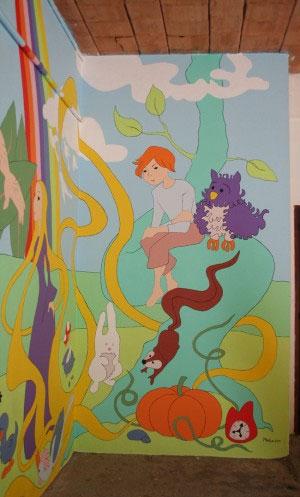 morceau coin fresque murale