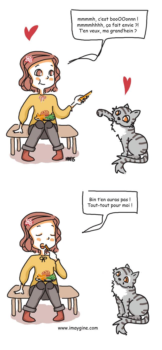 chat réclame à manger